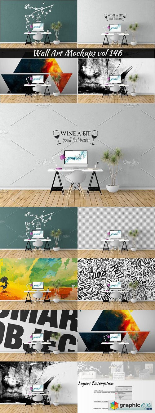 Wall Mockup - Sticker Mockup Vol 146