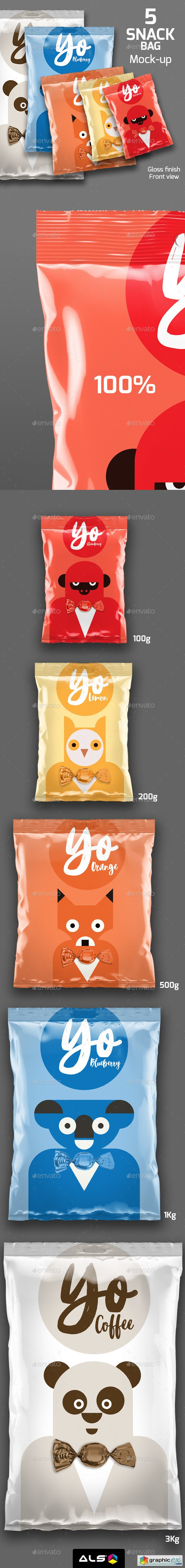 5 Snack Bags Mock-up