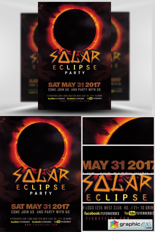 Solar Eclipse Party Flyer Template » Free Download Vector Stock ...