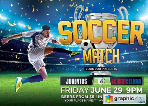 Soccer Tournament V25 Flyer Template Free Download Vector Stock