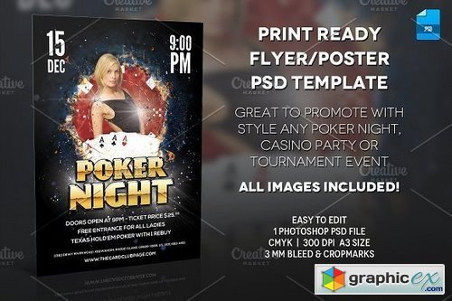 Poker Night Poster Print Template