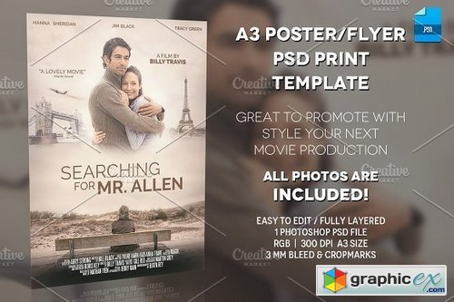 A3 Movie Poster Print Template 1 Free Download Vector Stock