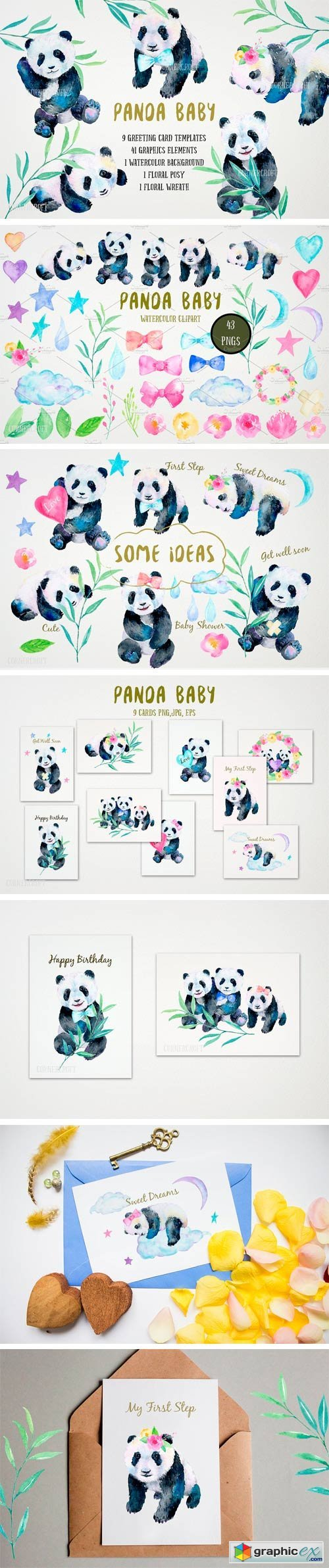 Watercolor Panda Baby