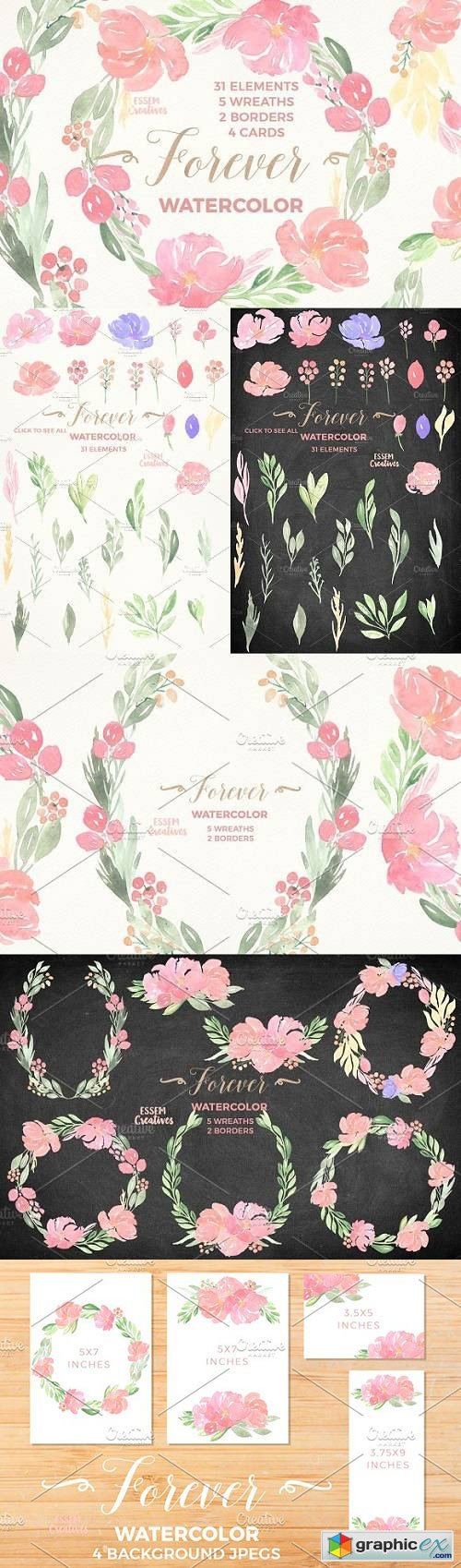Watercolor Floral Bundle - Forever