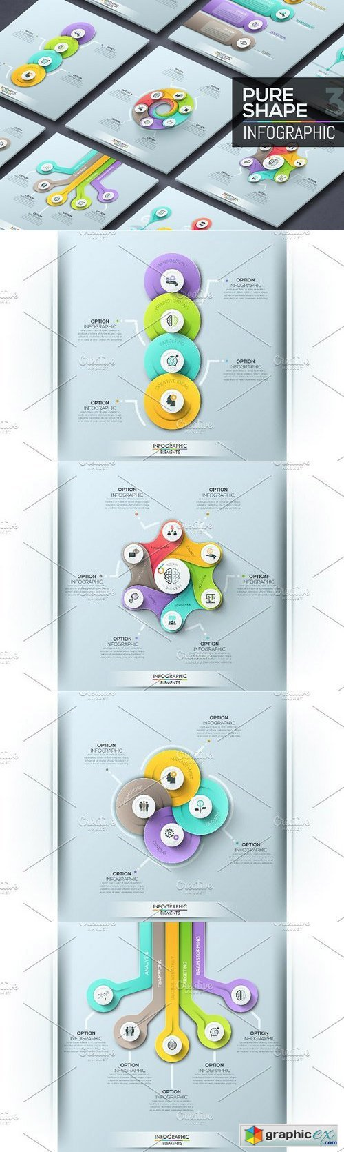 Pure Shape Infographic. Set 4