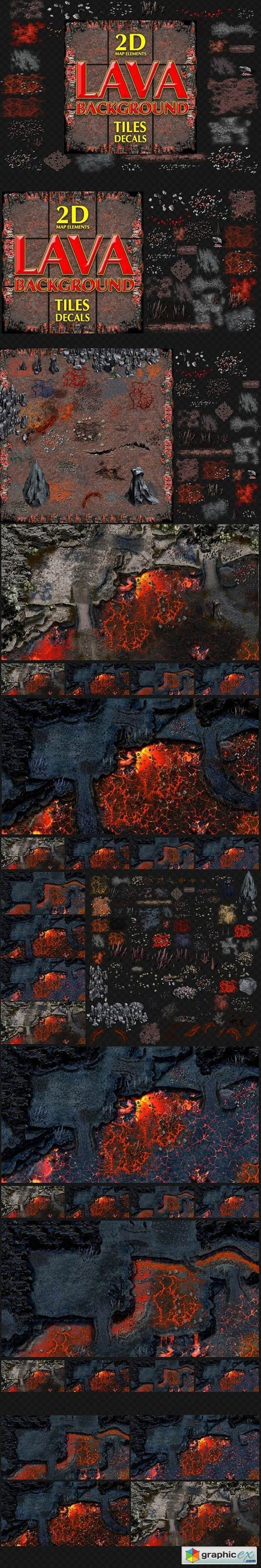 LAVA GAME BACKGROUND TILES AND DECAL
