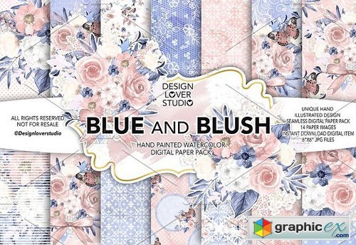 Watercolor BLUE and BLUSH DP pack