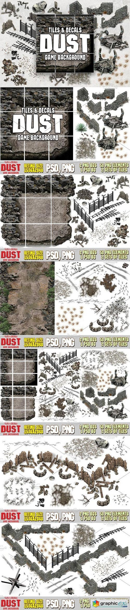 DUST 2D MAP TILES AND DECALS » Free Download Vector Stock Image