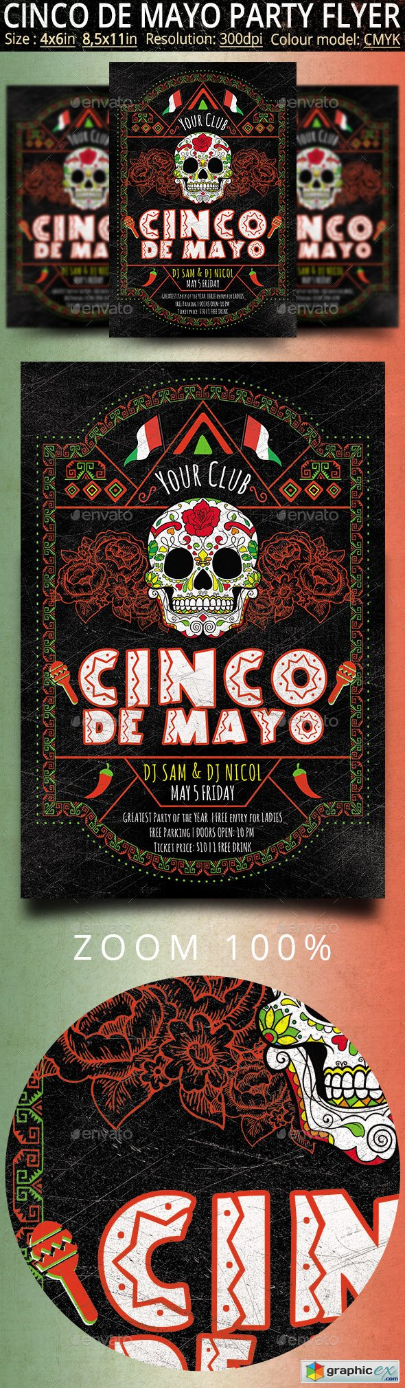 Cinco de Mayo Retro Vintage Flyer