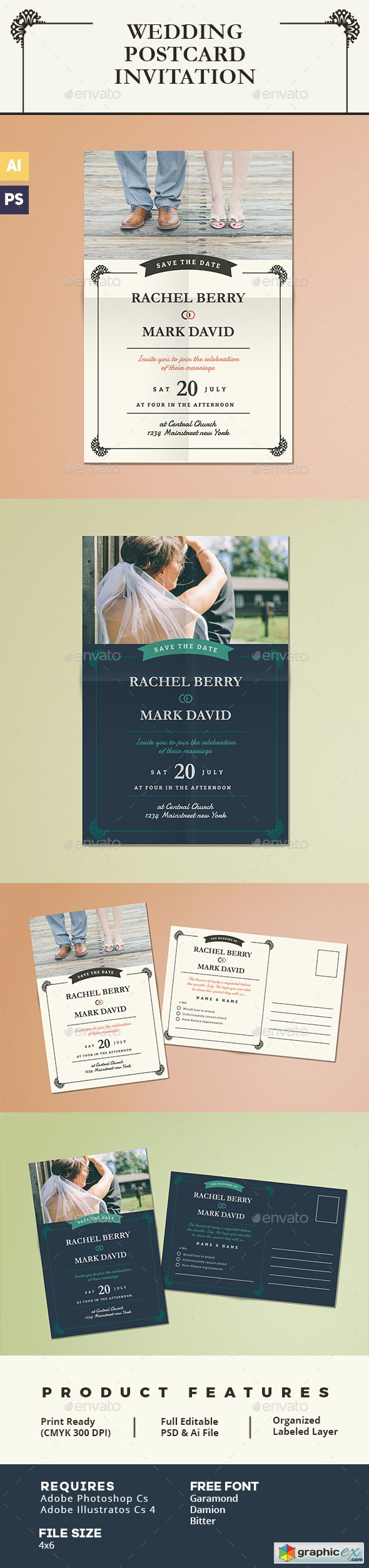 Elegant Wedding Postcard Invitation