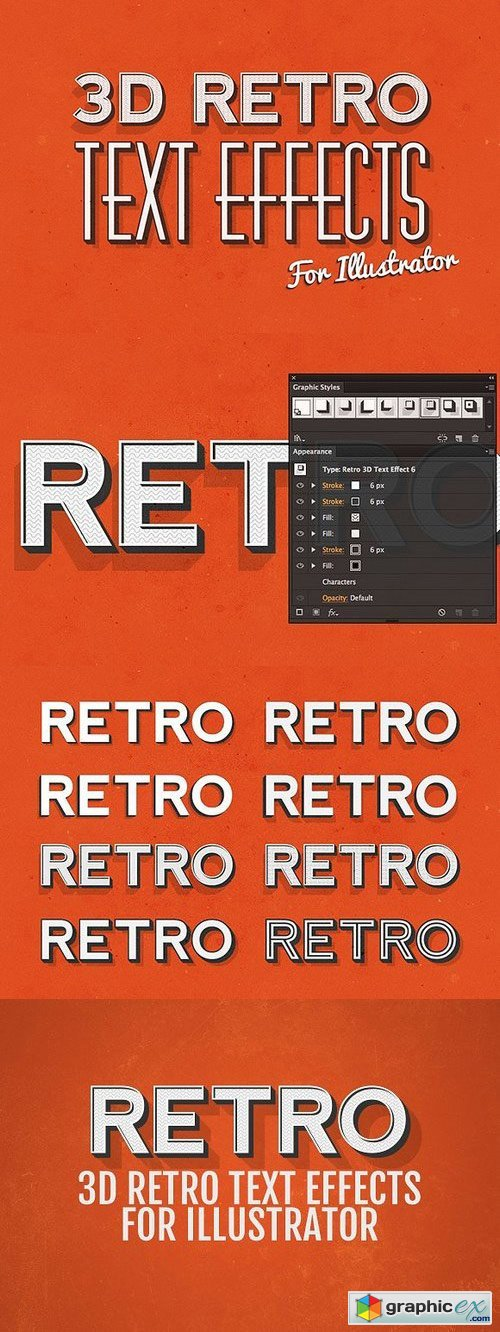3D Retro Text Effects - Illustrator » Free Download Vector