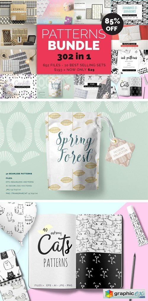 Handdrawn Patterns Bundle
