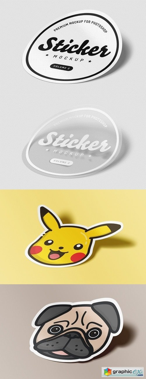 Sticker Mockup for Photoshop - Vol 2