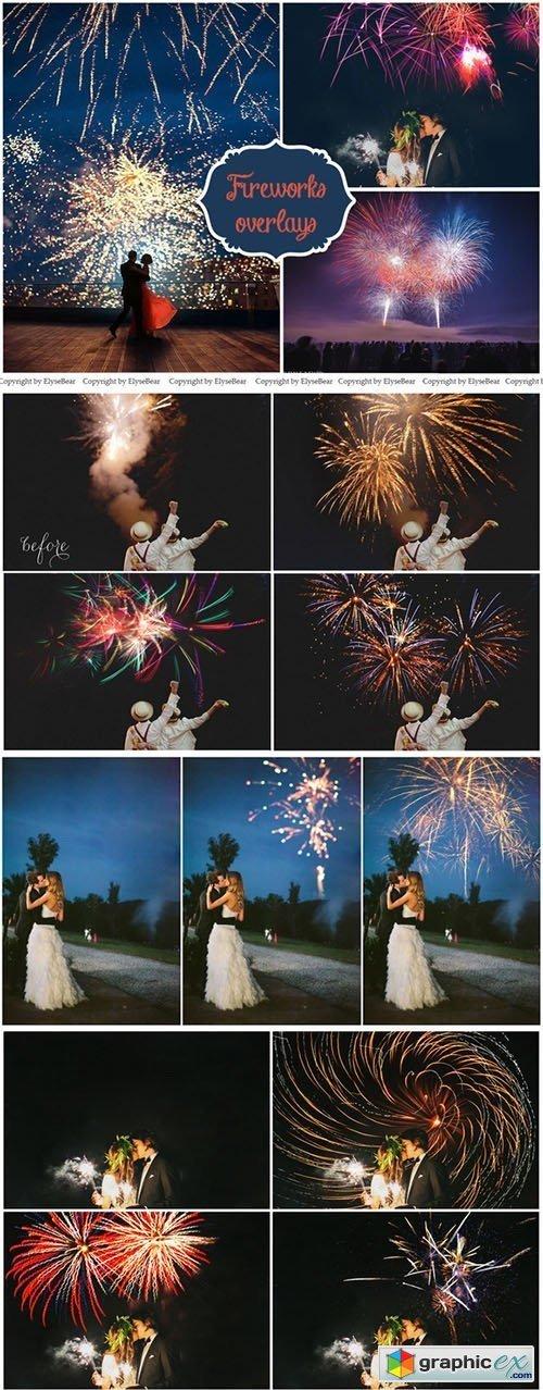 75 Fireworks Photo Overlays
