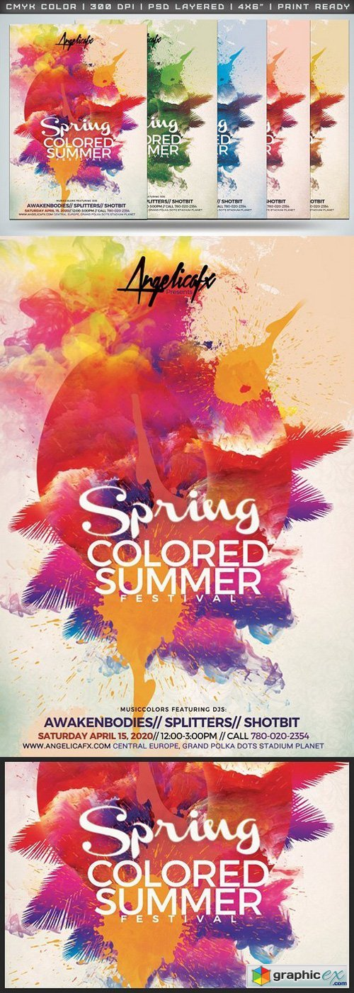 Spring Colored Summer Flyer Template