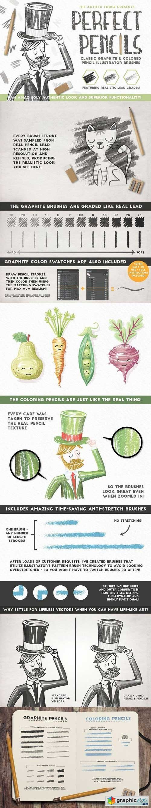 Perfect Pencils - Brush pack » Free Download Vector Stock