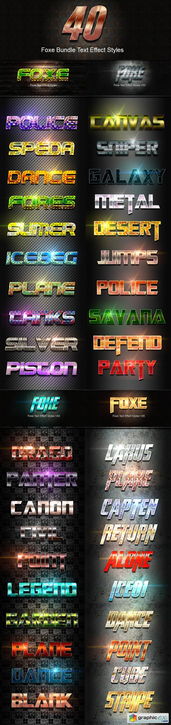 40 Foxe Bundle Text Effect Styles