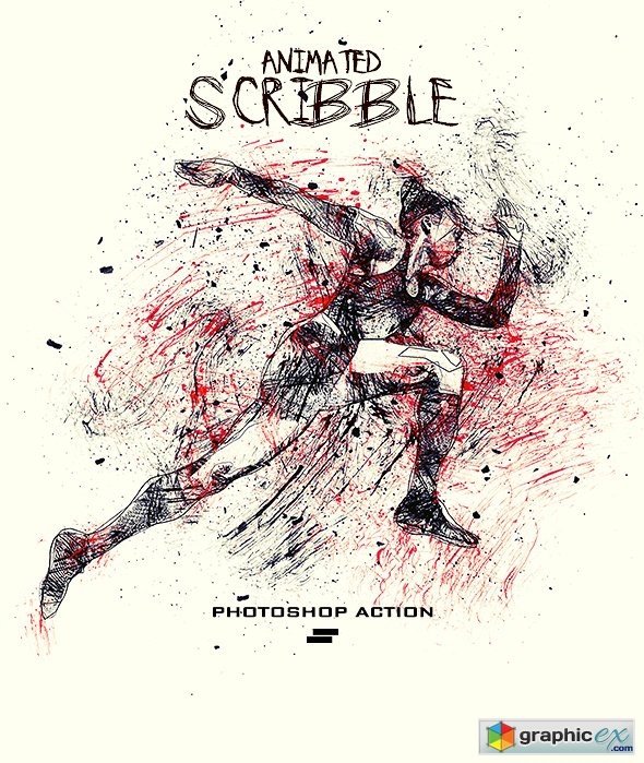 Gif Animated Ink Scribbles Photoshop Action » Free Download