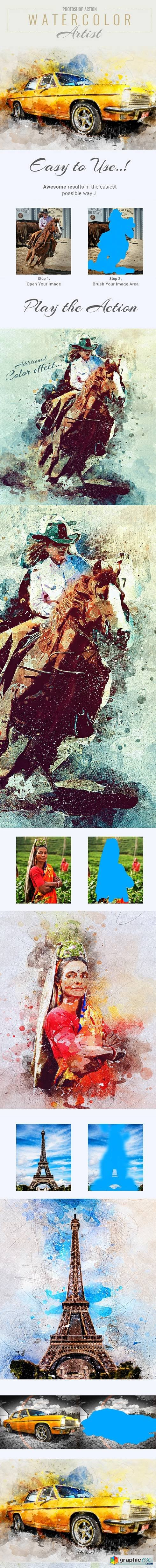 Graphicriver Watercolor Artist Photoshop Action
