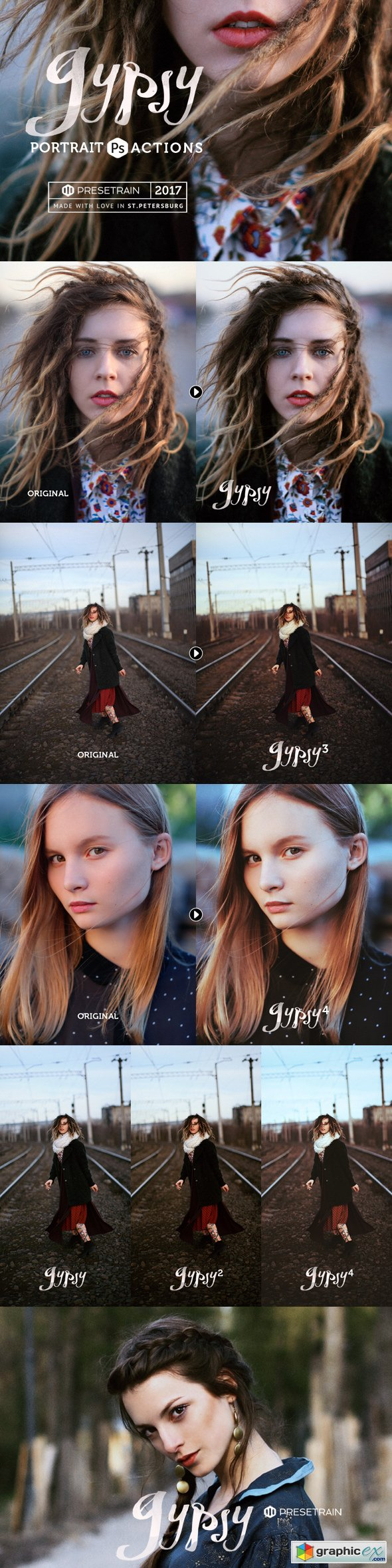 Gypsy Portrait Photoshop Actions » Free Download Vector