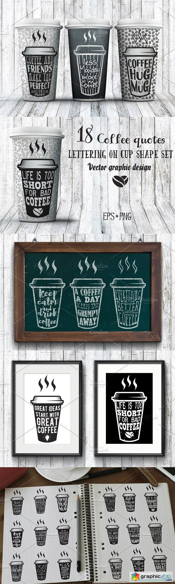 18 Coffee Quotes. Lettering on cups