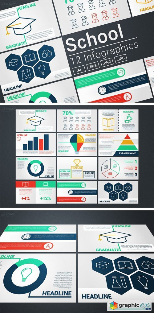 School Modern Infographics Vectors
