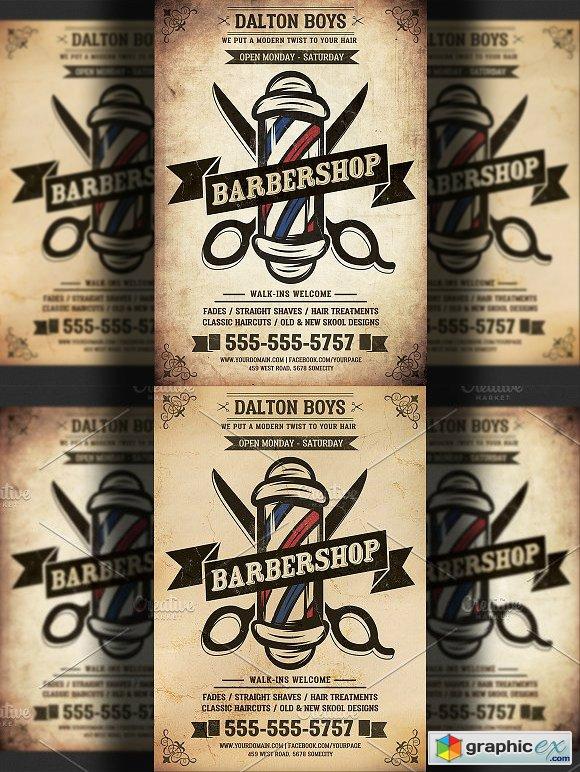 Vintage Barber Shop Flyer Template Free Download Vector Stock