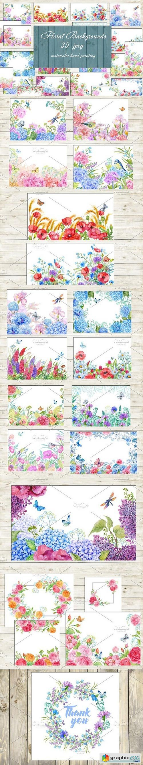 Floral backgrounds watercolor