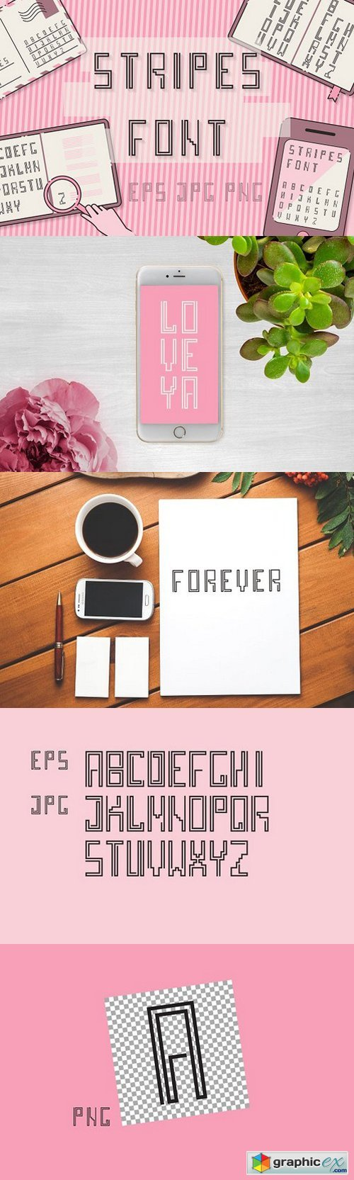 Stripes font TYPEFACES set