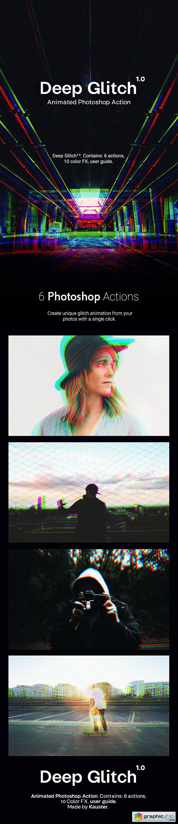 Deep Glitch - Animated Photoshop Action » Free Download