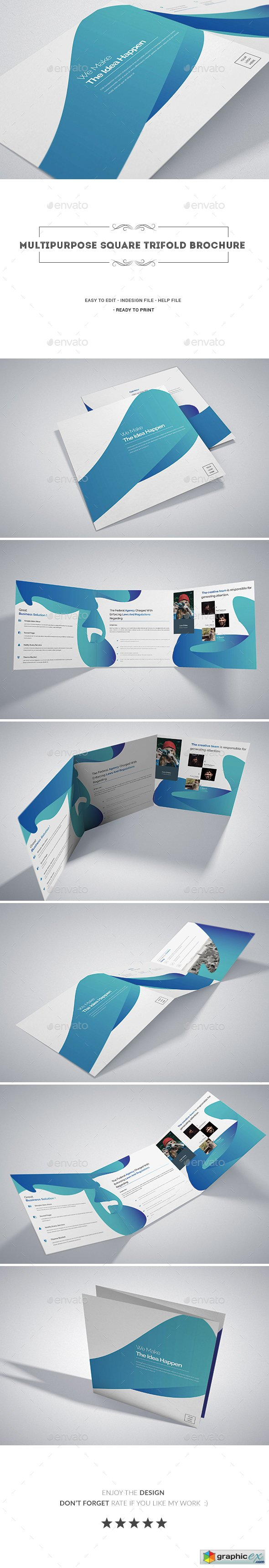 Multipurpose Square Tri-fold Brochure