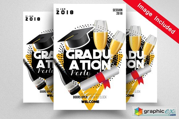 Graduation Party Flyer Template 1592412