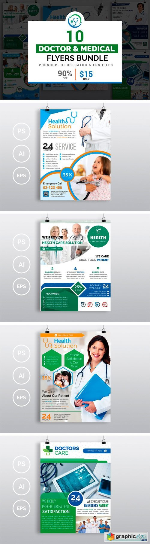 10 doctor medical flyers bundle free download vector stock image