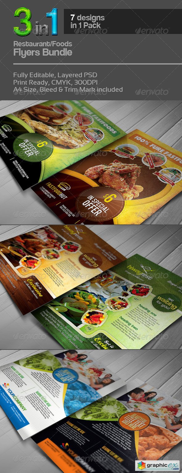 3 in 1 Restaurant Flyers Bundle v.2