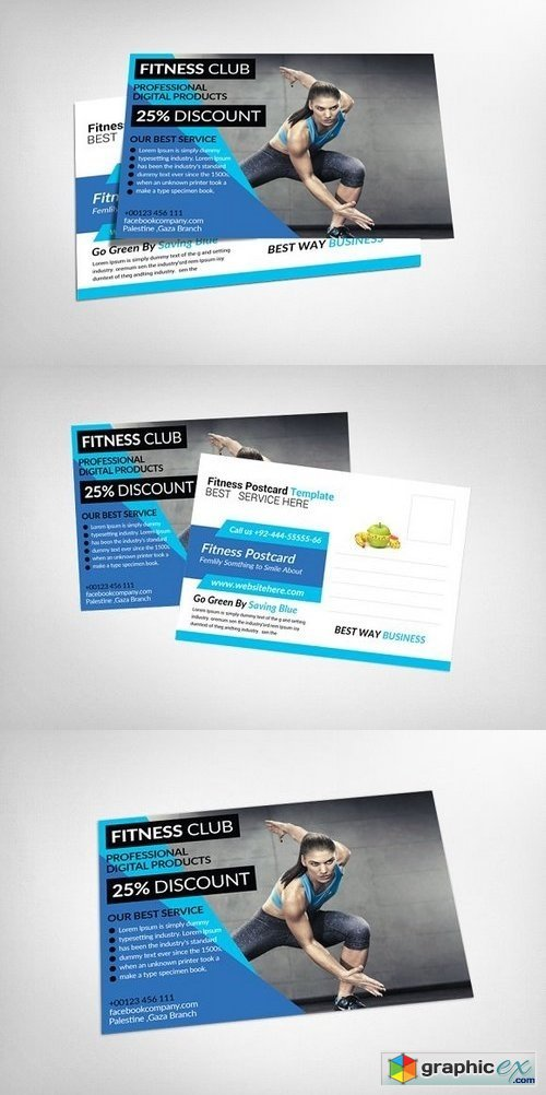 Fitness Postcard Psd Template 1242043