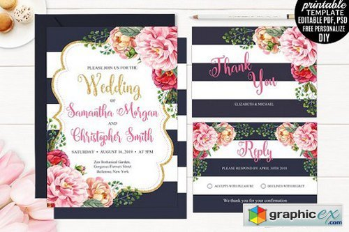Navy And Gold Floral Wedding Invite Free Download Vector