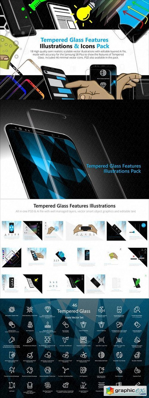 Tempered Glass Feature Icons Pack » Free Download Vector