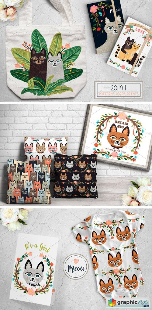 Big Meow Set. Cute Cats Design