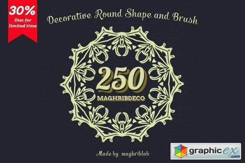 250 Decorative Round Shape and Brush 23325