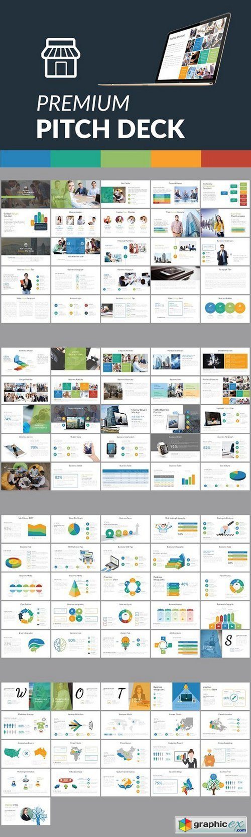Premium Pitch Deck Template Free Download Vector Stock Image