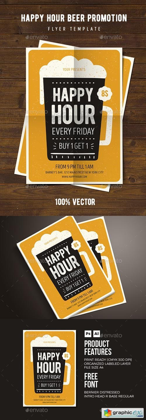 Happy Hour Beer Promotion Flyer 03