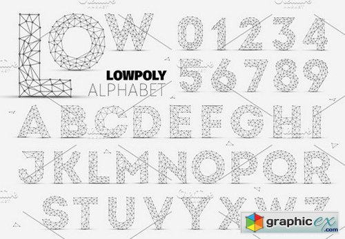 Vector Low Polygon Alphabet