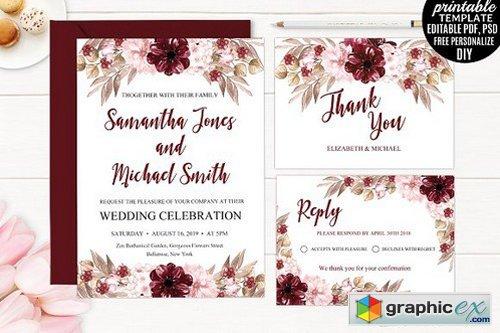 Marsala Wedding Invitation Template