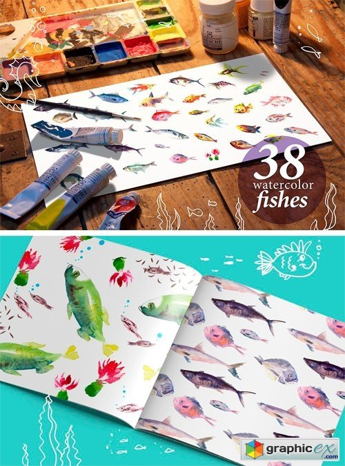38 Watercolor Fishes