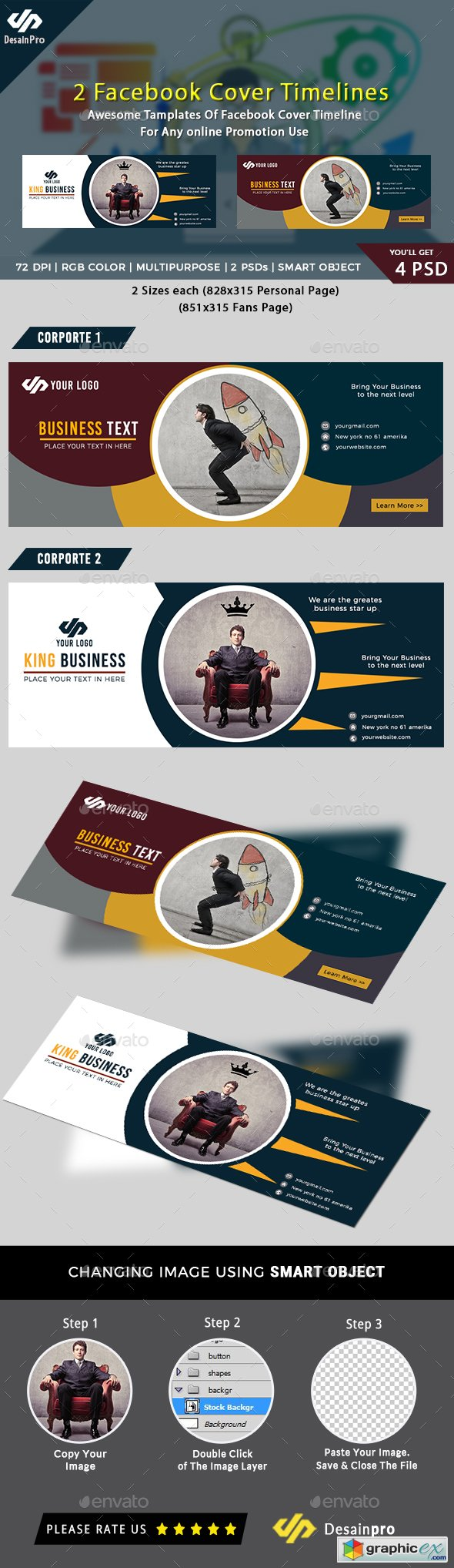 2 Business Corporate Facebook Cover Template