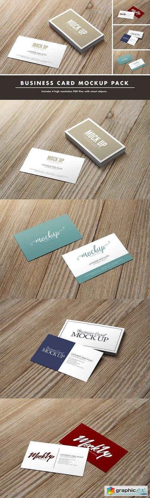 Business Card Mockup Pack on Wood