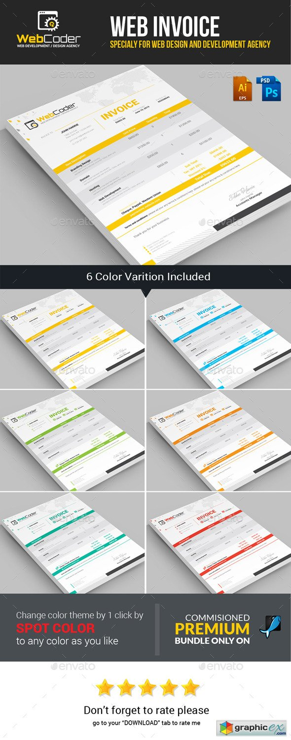 Web Coder | Web Design Agency Invoice Template