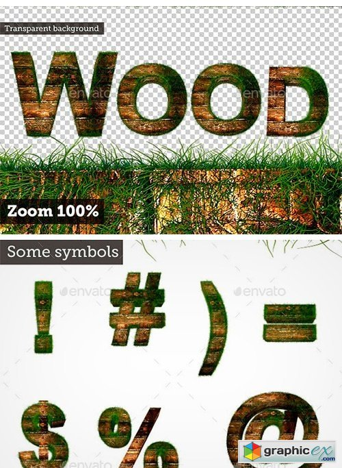 3D Wood Alphabet Text with Grass