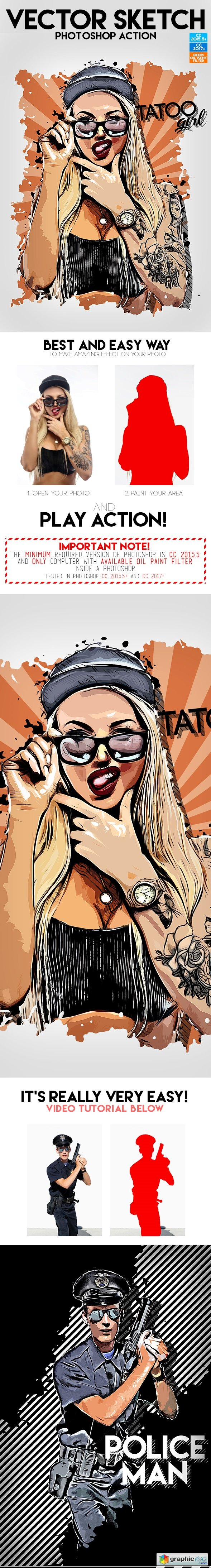 Vector Sketch Photoshop Action 20235096