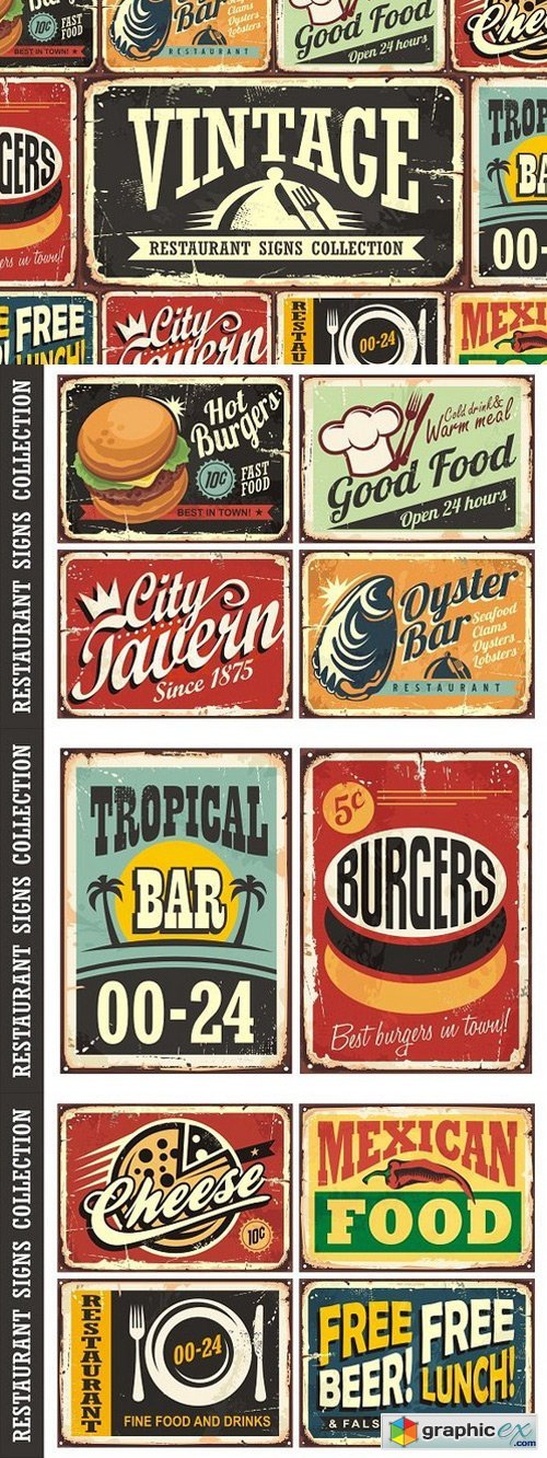 Vintage Restaurant Signs Collection